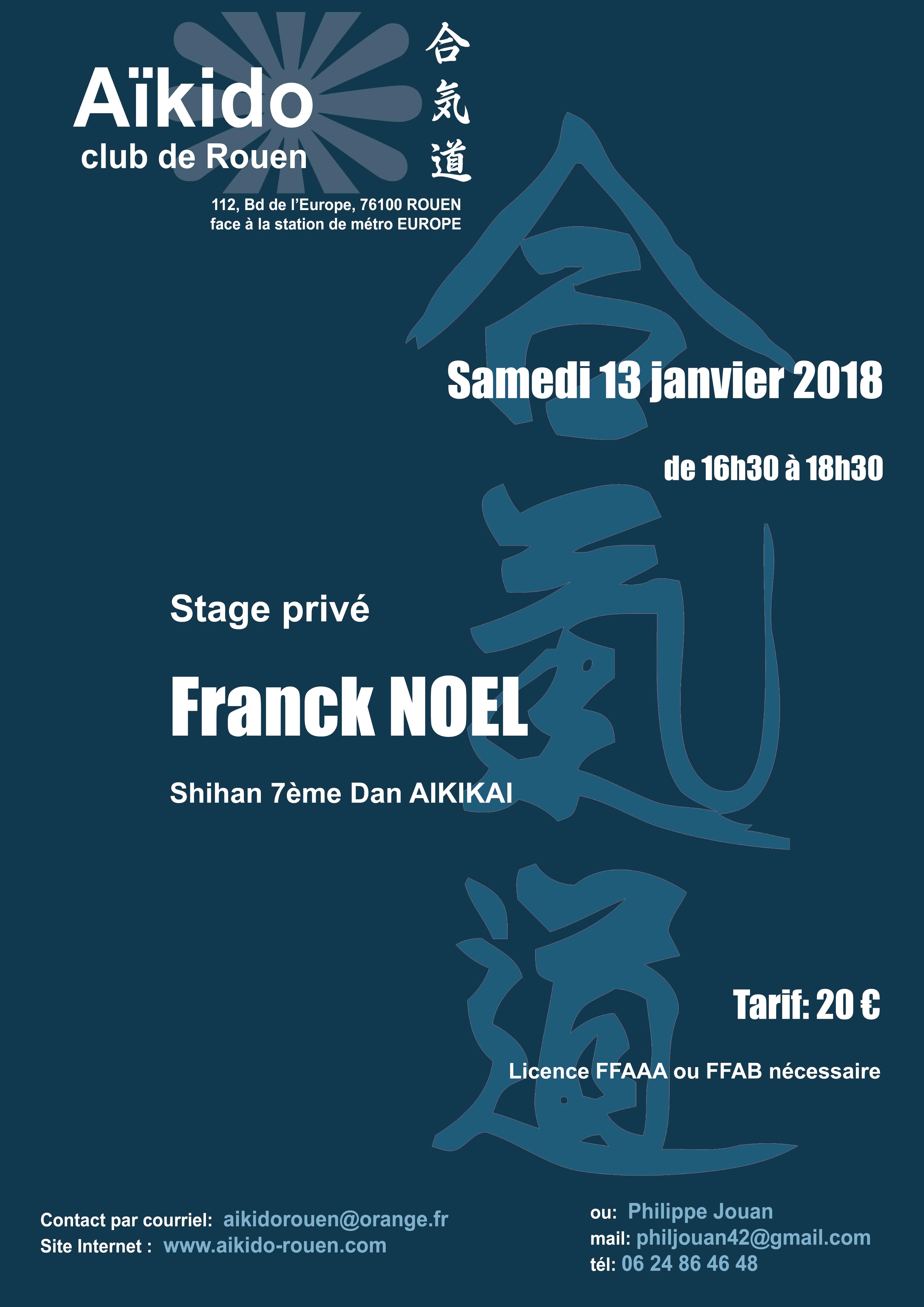 Stages Franck Noël le WE prochain !