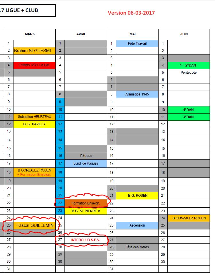 Mise à jour du calendrier 6 mars